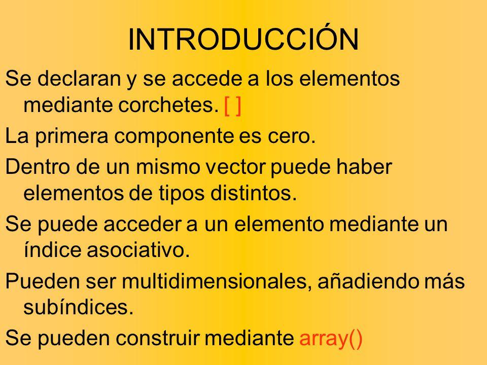 INTRODUCCIÓN Se declaran y se accede a los elementos mediante corchetes. [ ] La primera componente es cero.